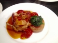 Corn fed chicken breast, fondant potato, slow roasted tomatoes & chasseur sauce.