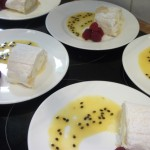 Lemon Roulade with Passion Fruit Coulis