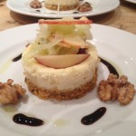 Rosary goats cheesecake with candied walnuts,apple & fennel salad aged balsamic syrup