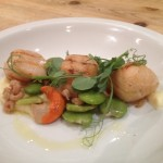 Char-grilled scallops with shrimps, broad beans, celeriac puree & pea shoots