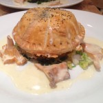 Wild mushroom, spinach & Dolclatte stuffed wellington, white wine & tarragon cream saue