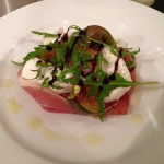 Prosciutto ham with buffalo mozzarella, honey glazed figs & candied pistachios.