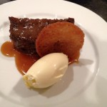Sticky toffee pudding with butterscotch sauce,clotted cream & brandy snap biscuit.