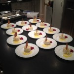 Lemon meringue roulade with passion fruit coulis