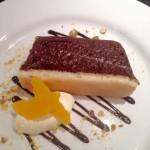Chocolate & orange marquise, pistachio praline & Creme fraiche.