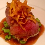 Chump of English lamb, minted broad beans, olive oil mash, redcurrant sauce & sweet potato crisps