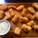 Panko coated cod gougons with tartare sauce