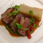 English lamb chump with minted pea purée, Boulangere potatoes & redcurrant sauce