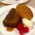 Sticky toffee pudding with butterscotch sauce, clotted cream & brandy snap biscuit