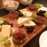 Selection of local cheeses with quince, Apple & gig chutney, fudges cheese biscuits