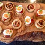 Quails eggs & chorizo on toasted brioche Roasted pepper, tomato, basil & Parmesan palmiers