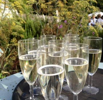 Prosecco at Pythouse Kitchen Gardens