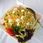 Quinoa salad with broad beans, feta cheese