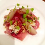 Prosciutto ham, mulled wine poached pear, dolcelatte, toasted walnuts & balsamic syrup