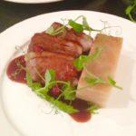 Chump of English lamb, pea & mint purée, Boulangere potatoes & redcurrant sauce