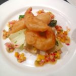 Tempura battered prawns, sautéed pak Choi with a mango, pineapple & chilli salsa