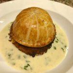 Portobello mushroom, spinach & Stilton pathivier, leek & potato rosti, white wine & tarragon cream sauce