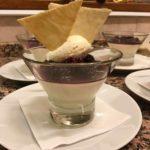 Vanilla & buttermilk pannacotta, blackberry compote, vanilla cream & tuille biscuits