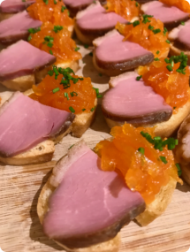 Smoked Duck canape - Event Catering Wiltshire, Dorset & Somerset